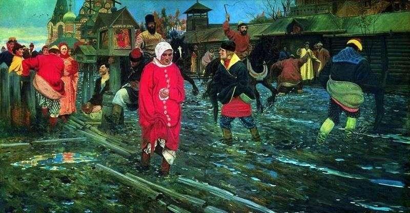 Московська вулиця 17 го століття у святковий день   Андрій Рябушкін