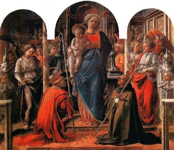 Мадонна з Немовлям в оточенні ангелів, зі святими Фредиано і Августином   Філіппо Ліппі