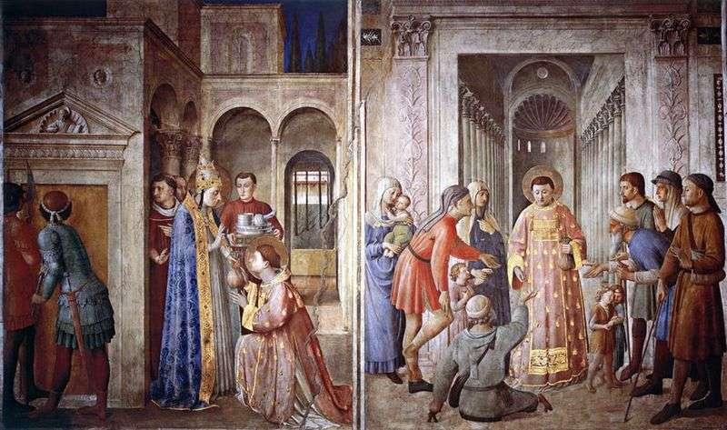 Святий Лаврентій, приймає скарби церкви і роздає їх жебракам   Фра Анджеліко