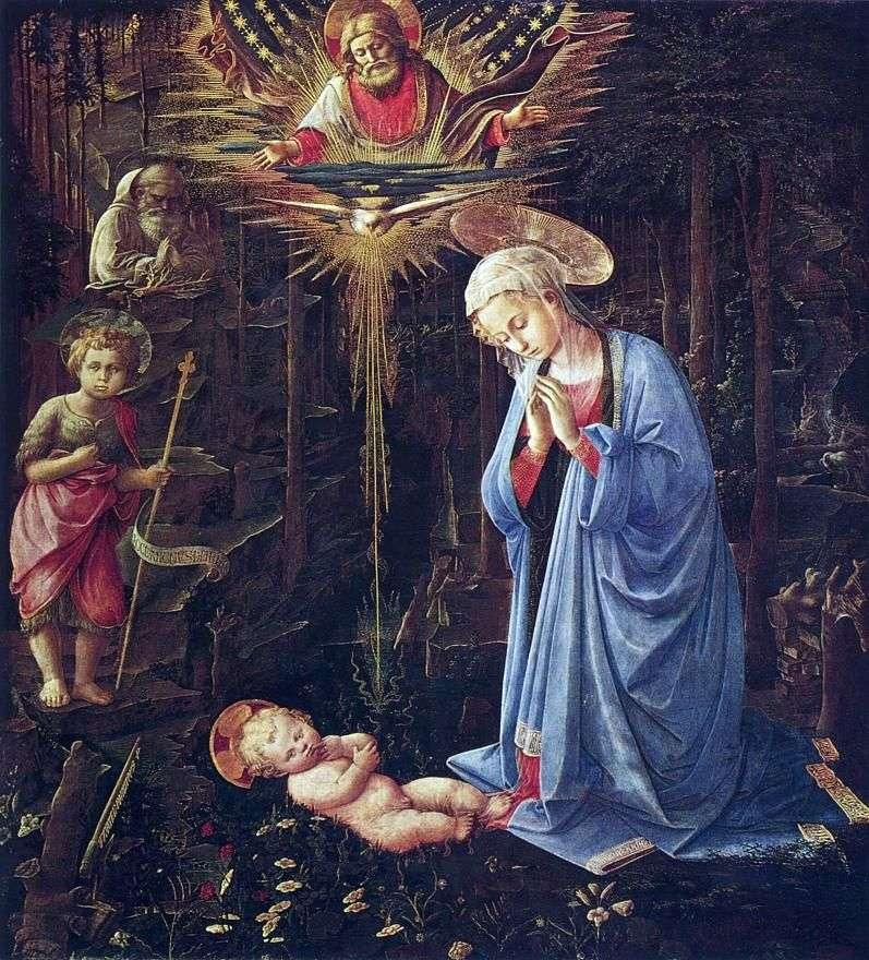 Поклоніння зі святим Бернардом і немовлям Іоанном Хрестителем   Фра Філіппо