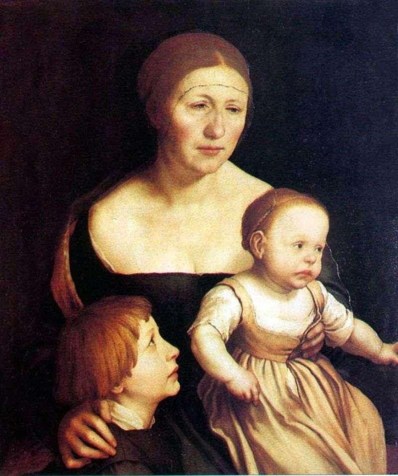 Портрет дружини і дітей   Ганс Гольбайн
