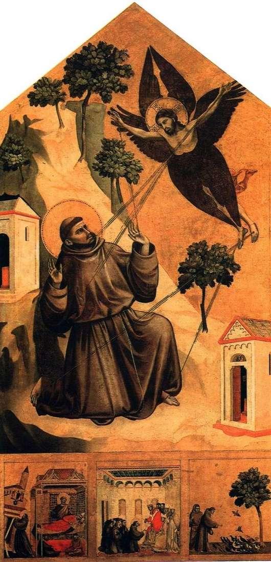Св. Франциск, отримує стигмати, з трьома сцени з житія   Джотто ді Бондоне