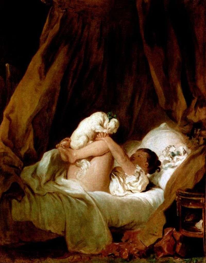 Дівчинка в ліжку, грає з собачкою   Жан Оноре Фрагонар
