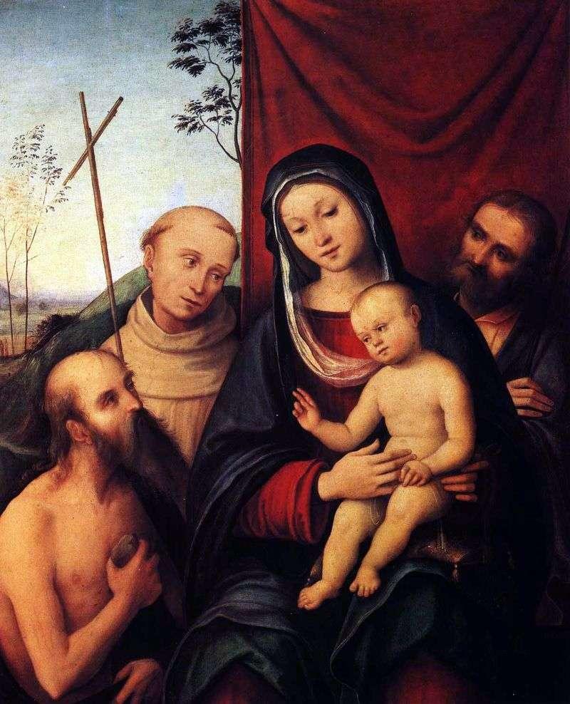 Святе сімейство святого Ієроніма і святим Франциком Ассизским   Лоренцо Коста