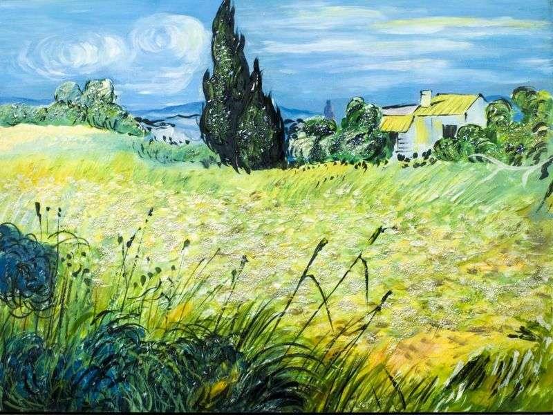 Зелене пшеничне поле з кипарисом   Вінсент Ван Гог