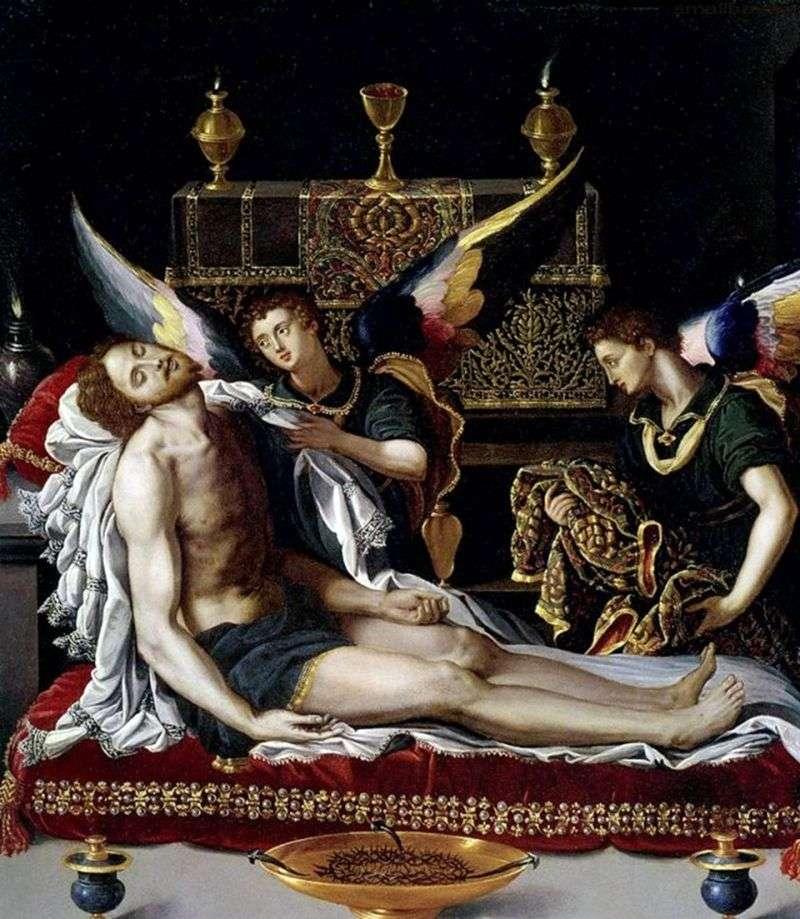 Два ангела у тіла Христа   Алессандро Аллори