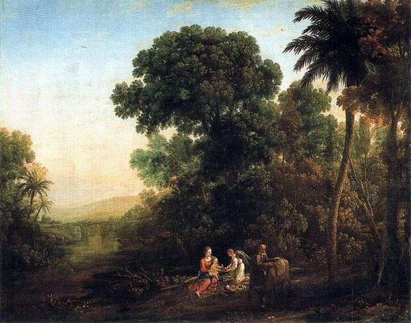 Пейзаж зі сценою відпочинку на шляху в Єгипет   Клод Лоррен