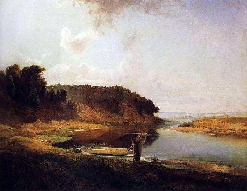 Пейзаж з річкою та рибаком   Олексій Саврасов