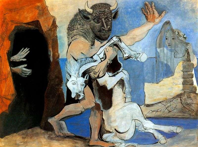 Мінотавр з мертвої конем перед печерою   Пабло Пікассо