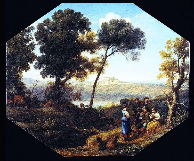 Сільський пейзаж з видом замку Гандольфо   Клод Лоррен
