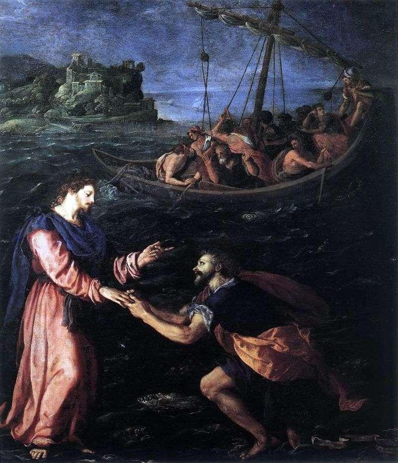 Святий Петро, що йде по воді   Алессандро Аллори