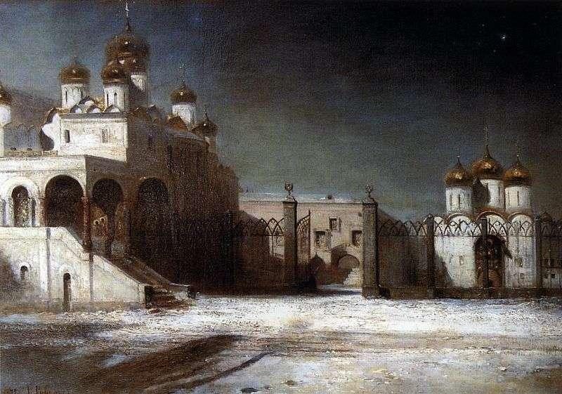 Соборна площа в Московському Кремлі вночі   Олексій Саврасов