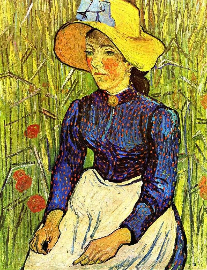Молода селянка в соломяному капелюсі   Вінсент Ван Гог