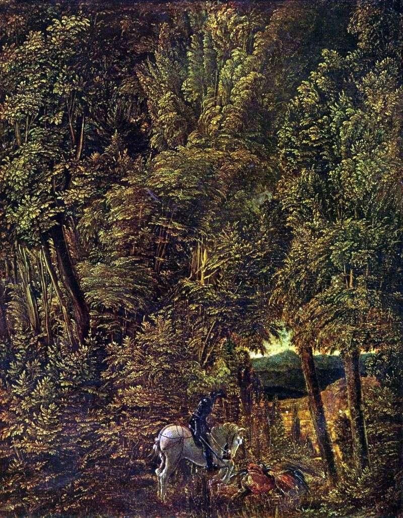 Лісовий пейзаж зі св. Георгієм, що вражає дракона   Альбрехт Альтдорфер