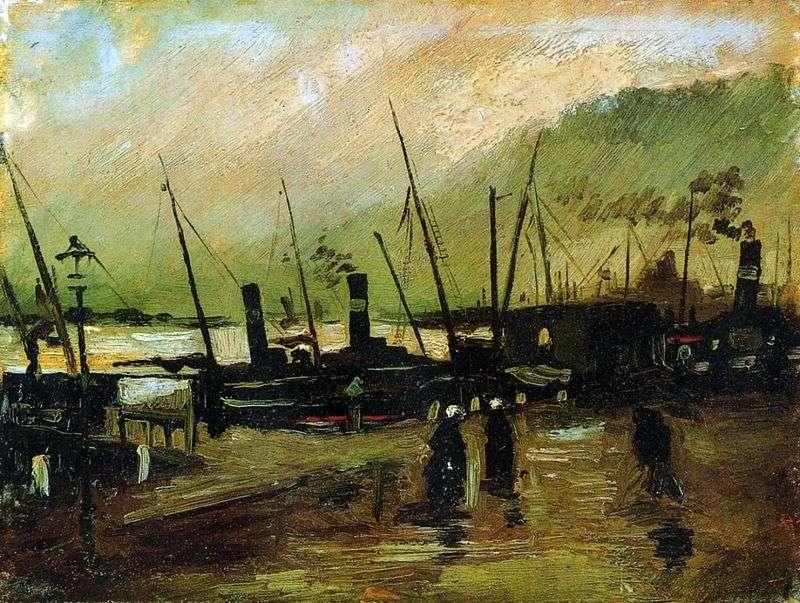 Набережна з кораблями в Антверпені   Вінсент Ван Гог