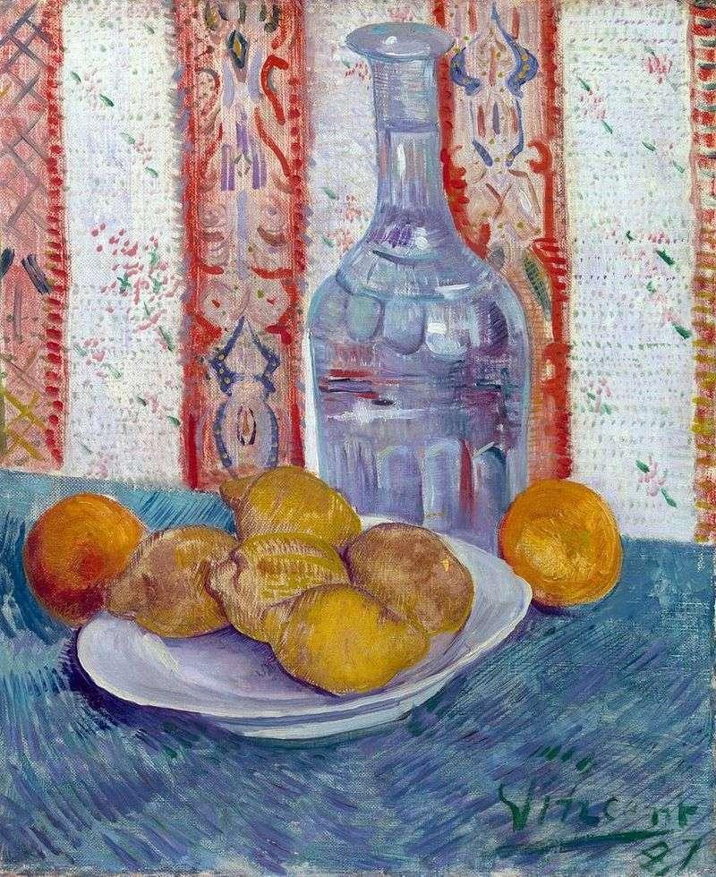 Натюрморт з графином і лимонами на тарілці   Вінсент Ван Гог