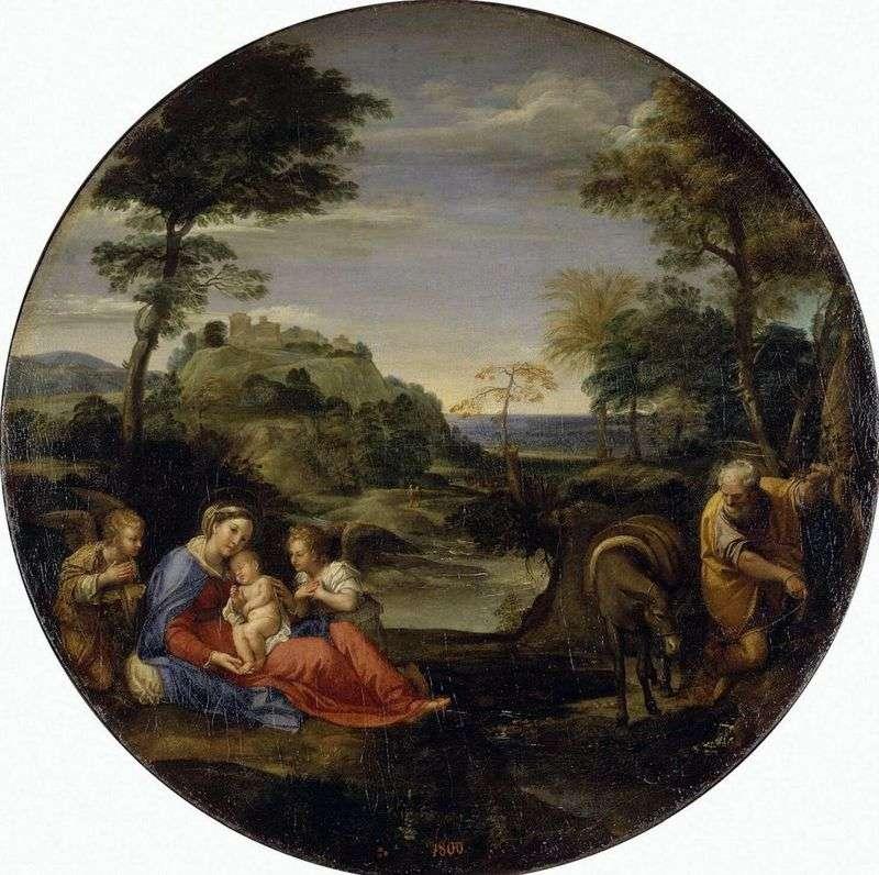 Пейзаж зі сценою відпочинку Святого сімейства на шляху в Єгипет   Аннібале Карраччі