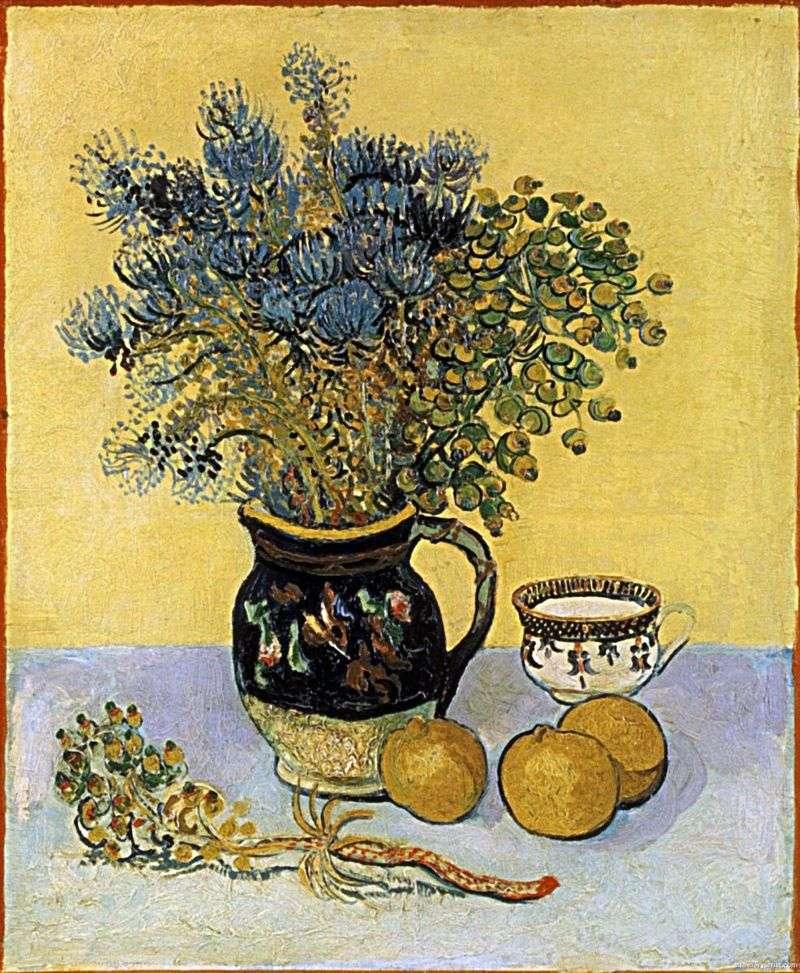 Натюрморт: глечик в стилі Майоліка з польовими квітами   Вінсент Ван Гог