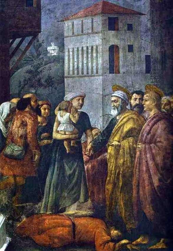 Святий Петро, розподіляє майно громади між бідними   Мазаччо