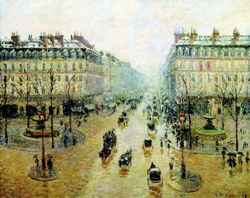 Оперний проїзд в Парижі. Ефект снігу. Ранок   Каміль Піссарро