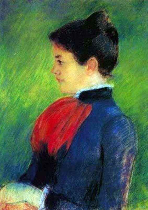 Жінці у синій блузі з червоною краваткою   Мері Кассат