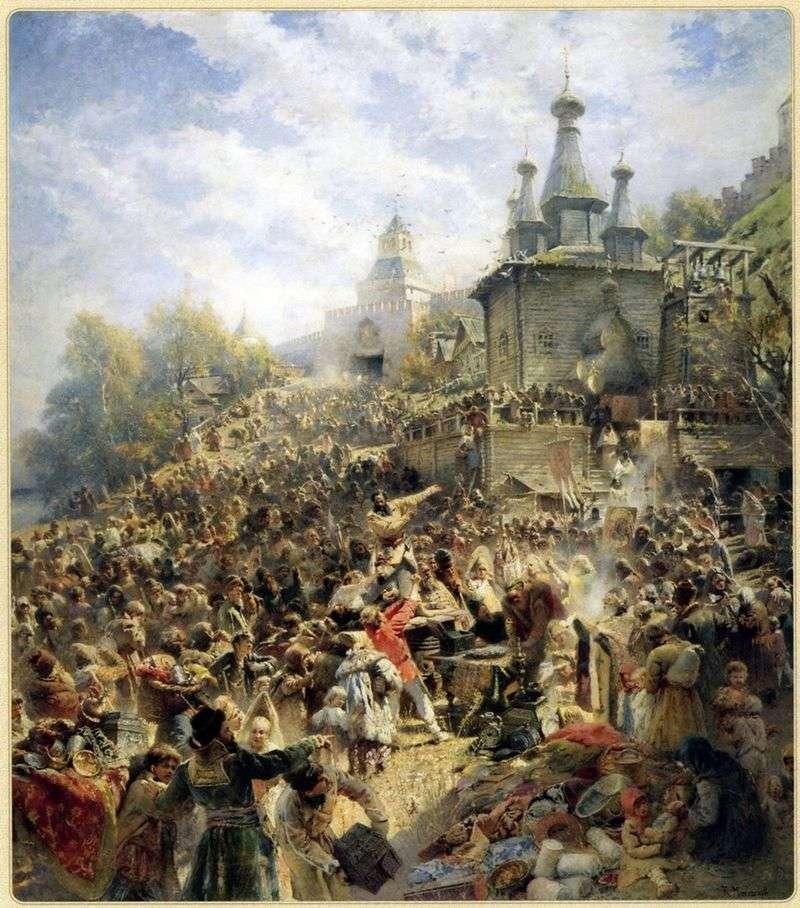 Мінін на площі Нижнього Новгорода, закликає народ до пожертвам   Володимир Маковський