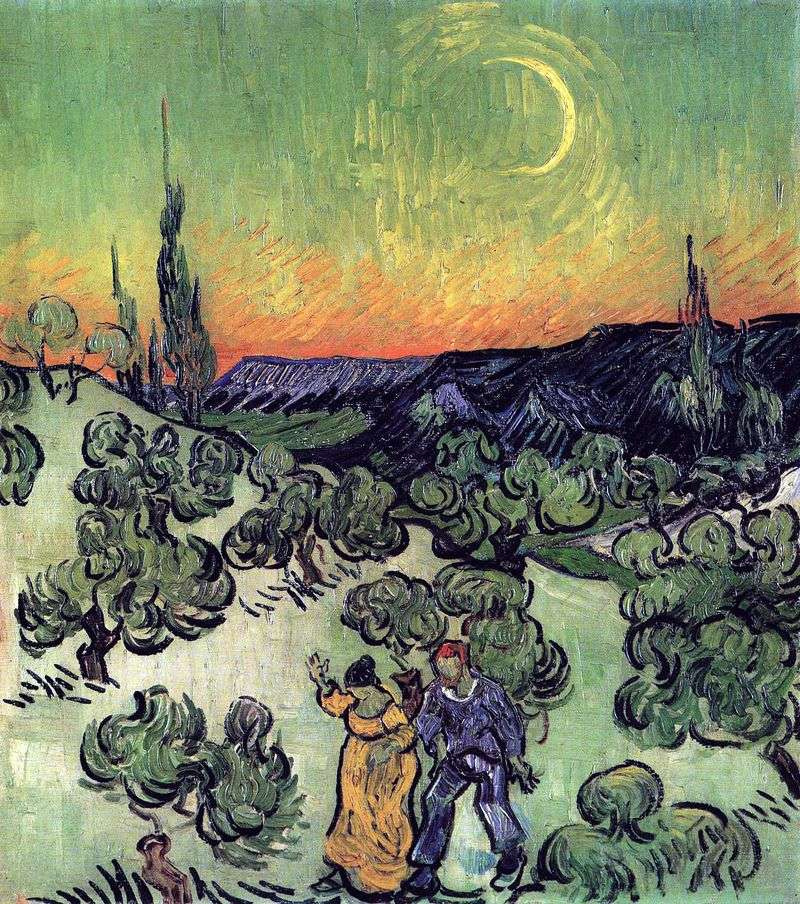 Пейзаж з прогулюється парою і серпом місяця   Вінсент Ван Гог