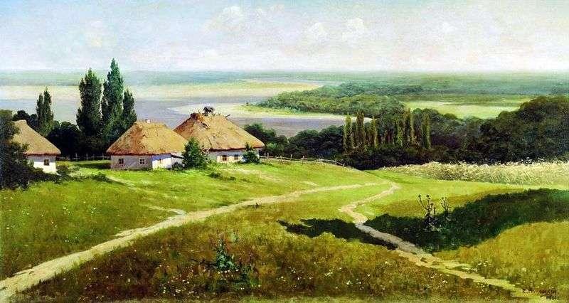 Український пейзаж з хатами   Володимир Маковський