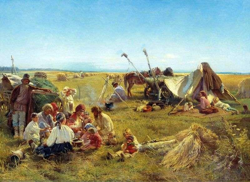 Селянський обід під час жнив   Костянтин Маковський