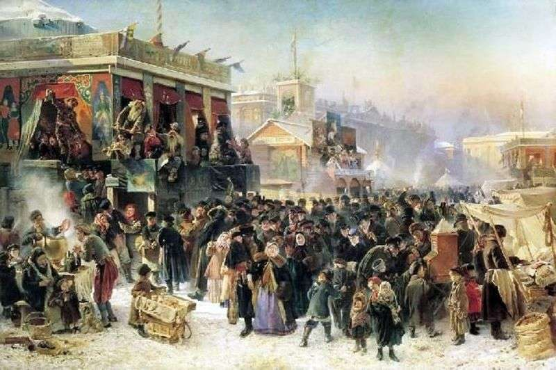 Народне гуляння під час масляної на Адміралтейській площі в Петербурзі   Костянтин Єгорович Маковський