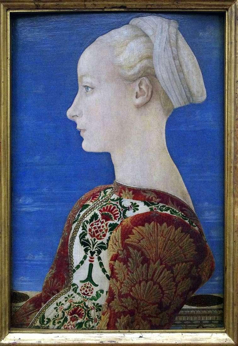 Портрет молодої жінки в лівому профілі   Антоніо дель Поллайоло