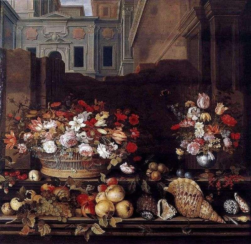 Натюрморт з квітами, фруктами, і раковинами   Бальтазар ван дер Аст