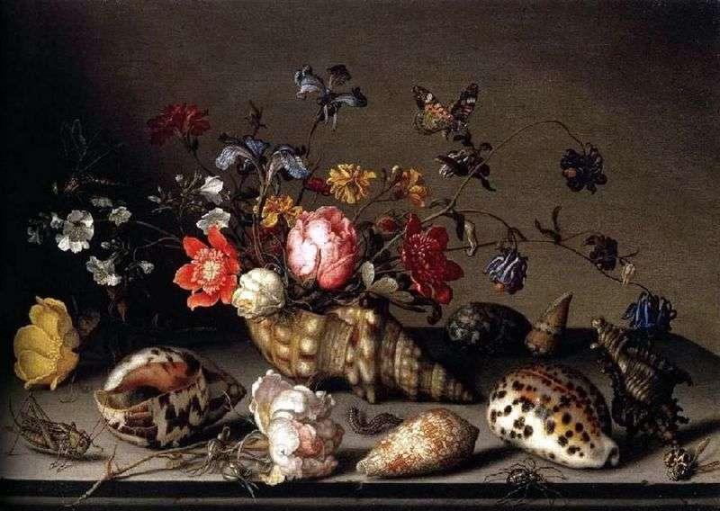 Натюрморт: квіти, раковини, комахи   Балтазар ван дер Аст