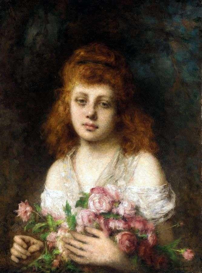 Рудоволоса дівчина з букетом троянд   Олексій Харламов