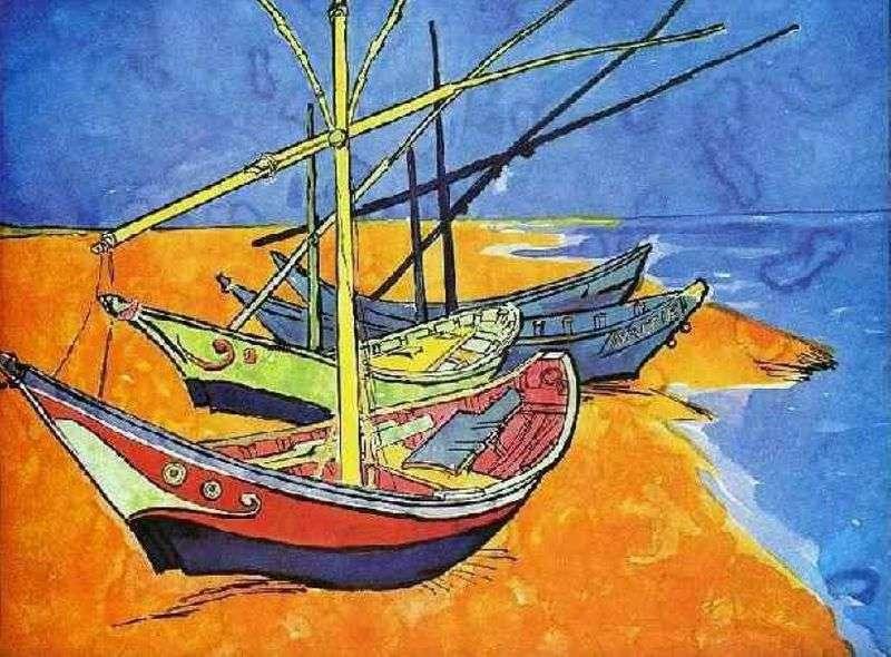 Рибальські човни на пляжі від Сент Марі (акварель)   Вінсент Ван Гог