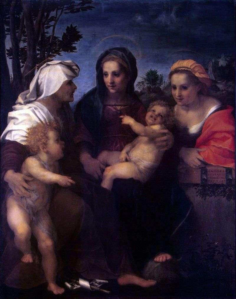 Мадонна з Немовлям, святими Катериною, Єлизаветою та Іоанном Хрестителем   Андреа дель Сарто