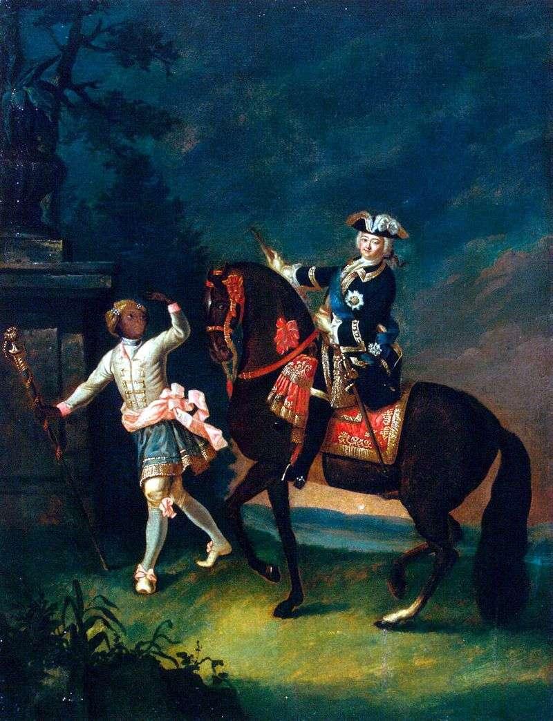 Кінний портрет Єлизавети Петрівни з арапчонком   Георг Христофор Гроот