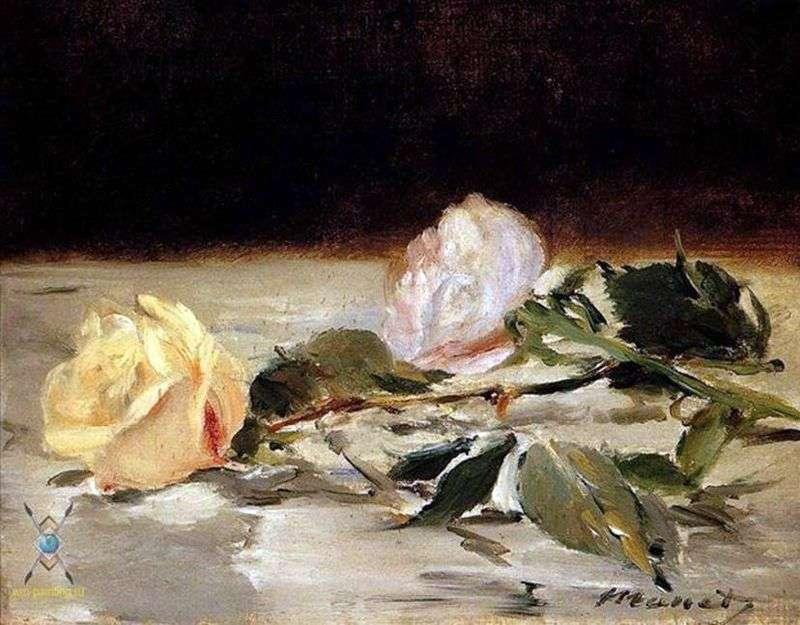 Дві троянди на покривалі   Едуард Мане