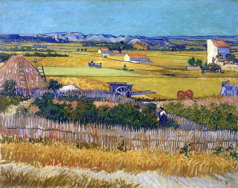 Урожай в Ла Кро, і Монмажор на задньому плані (Збір урожаю)   Вінсент Ван Гог