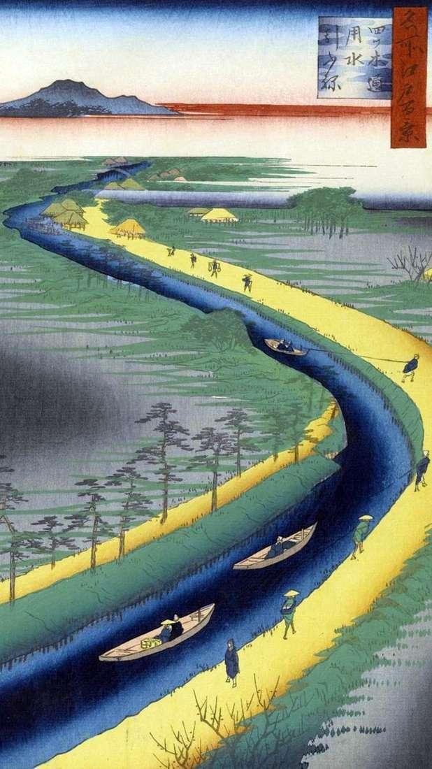 Буксирні човна на каналі Ецуги дорі   Утагава Хиросигэ