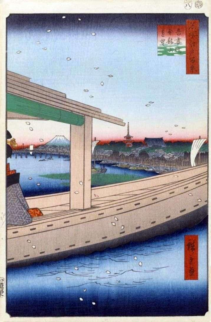 Вид на монастир Кинрюдзан і міст Адзумабаси   Утагава Хиросигэ