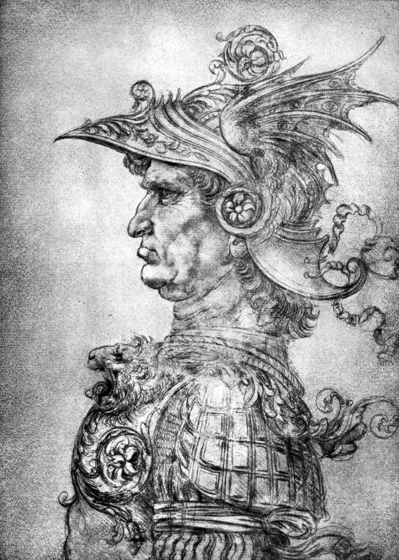Воїн у шоломі і обладунках   Леонардо да Вінчі