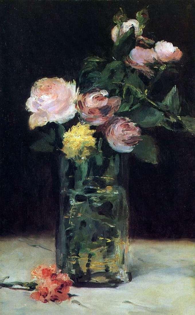Троянди у кришталевій вазі   Едуард Мане