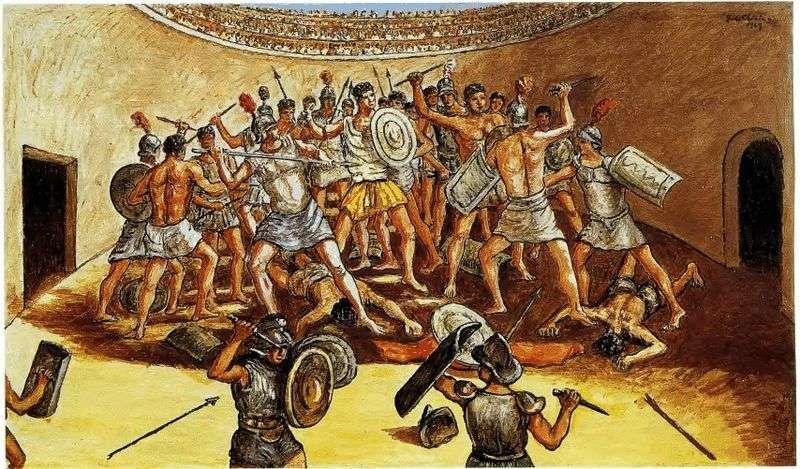 Битва гладіаторів на арені   Джорджо де Кіріко