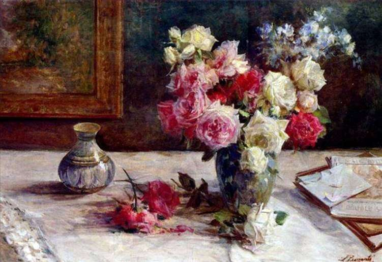 Троянди у вазі і кілька книг на столі   Лицинио Барзанти