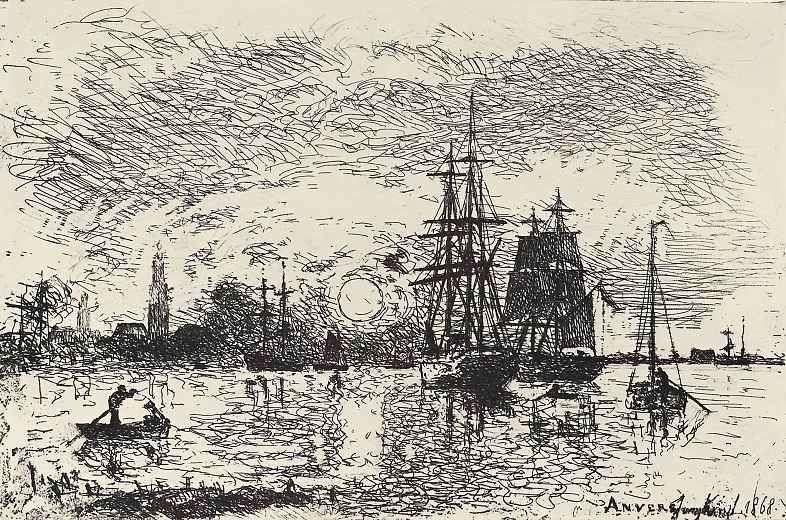 Захід сонця в Антверпенском порту   Ионгкинд Іоханн Бартолд