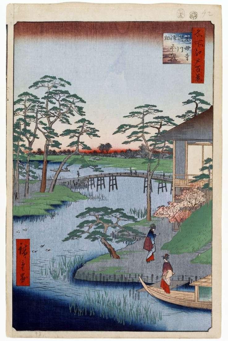 Монастир Мокубодзи, річка Утигава і поля Годзэнсаихата   Утагава Хиросигэ