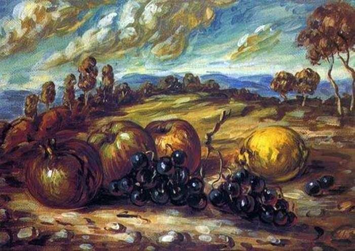 Фрукти в пейзаж   Джорджо де Кіріко
