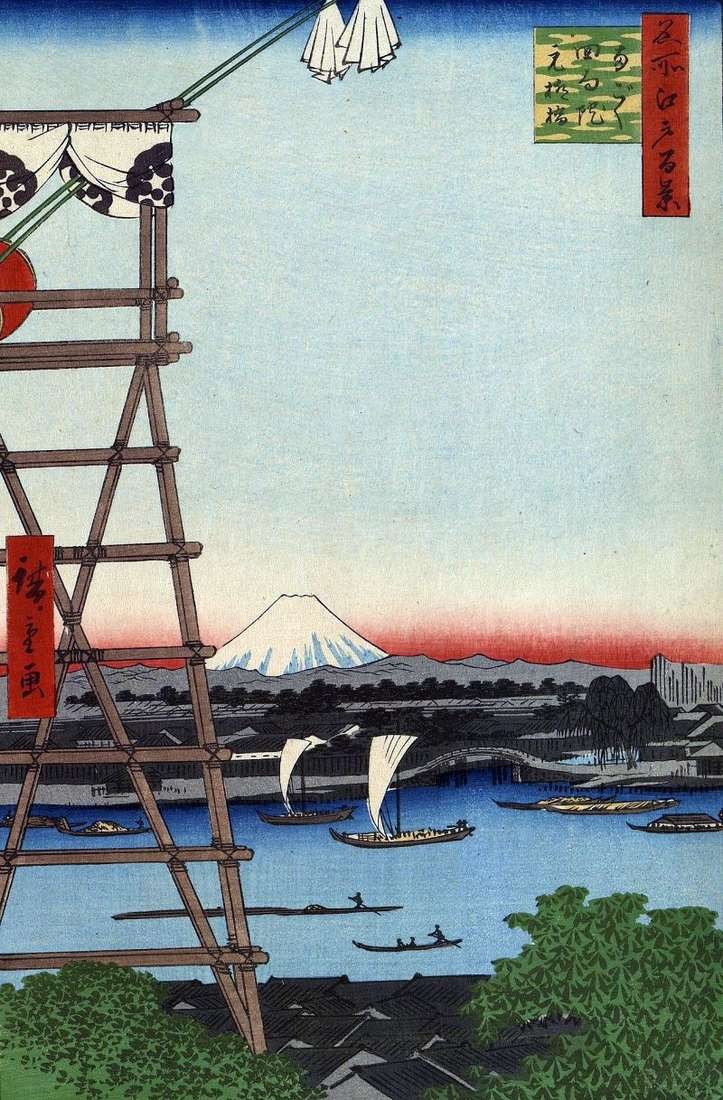Монастир Экоин в Регоку і міст Мото Янагибаси   Утагава Хиросигэ