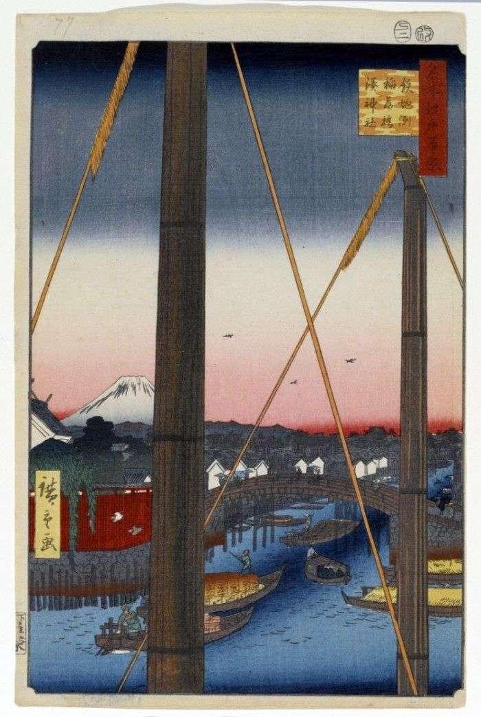 Міст Інарі баси в Тэпподзу, святилище Мінато дзіндзя   Утагава Хиросигэ